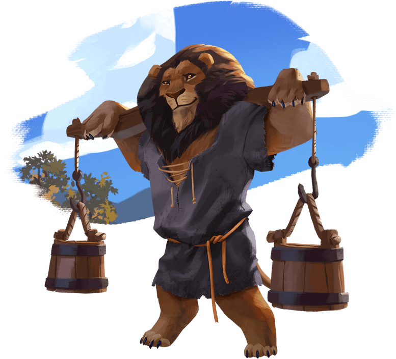 Illustration of a lion character carrying two buckets across his shoulders