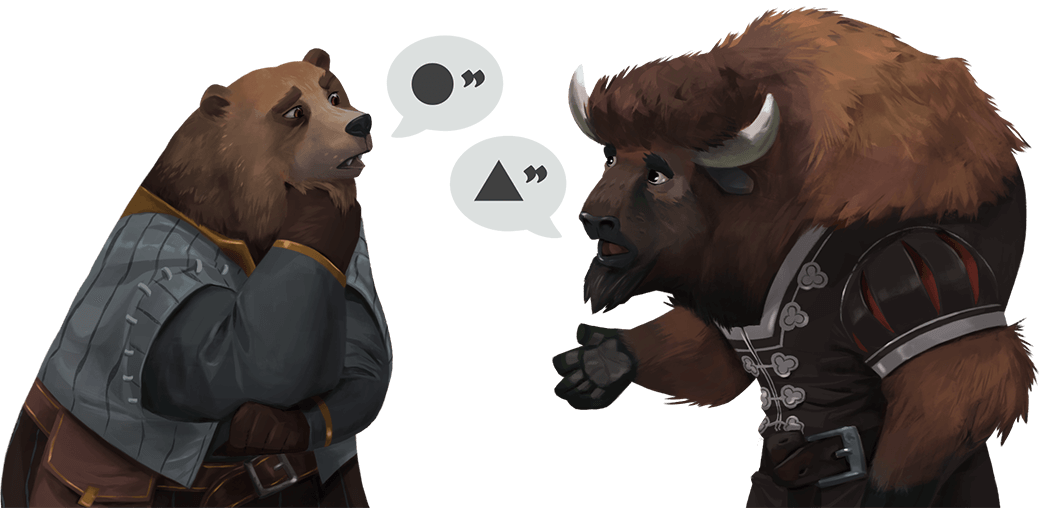 Illustration of a conversation between bear and buffalo characters